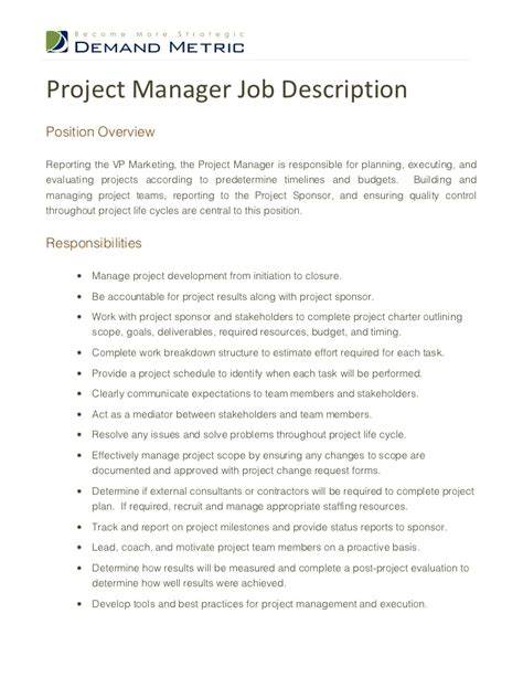 project management skills resume sle how to write project description in resume 28 images