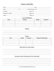 seizure plan template printable seizure plan