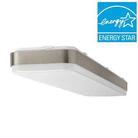 Rectangular Ceiling Light Fixture Hton Bay 4 Ft X 1ft Brushed Nickel Bright Cool White Rectangular Led Flushmount Ceiling