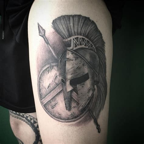 spartan helmet shield and spear tattoo venice tattoo