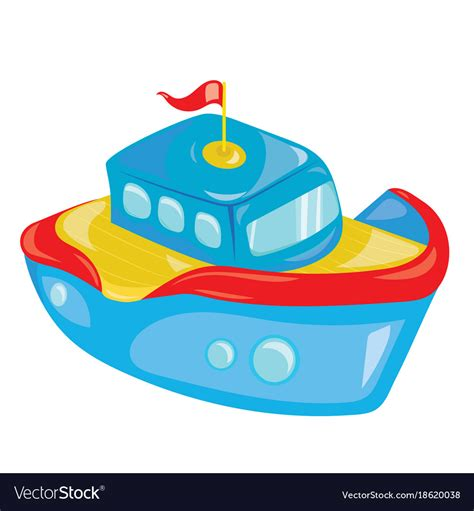toy boats cartoon cartoon boat on white background a toy ship for vector image