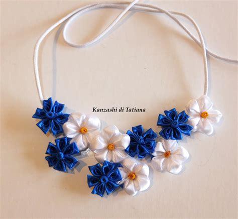 gio fiore collana kanzashi fatta a mano con fiori fiordaliso