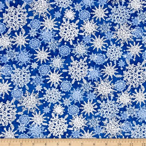 winter frost snowflakes navy discount designer fabric