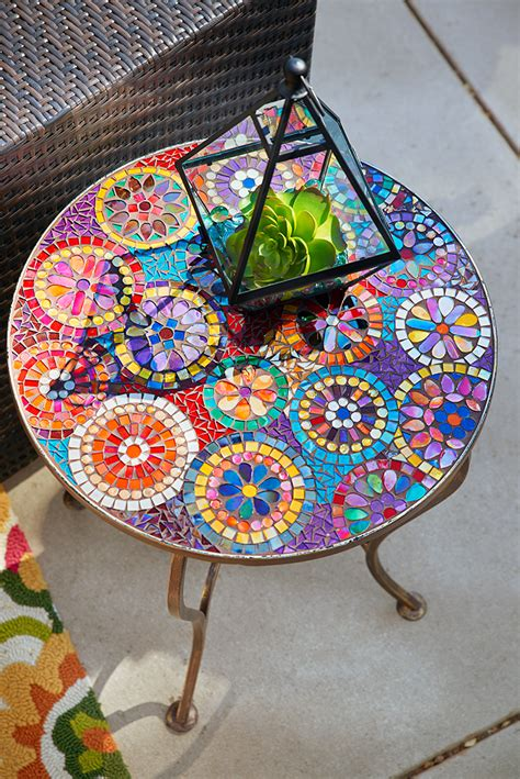 outdoor mosaic accent table one look at pier 1 s elba mosaic accent table and we