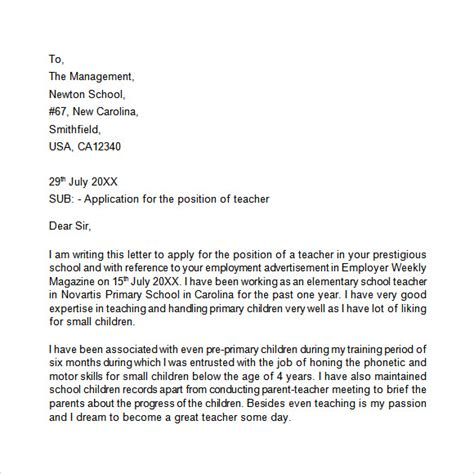 Application Letter   9  Free Samples , Examples , Format