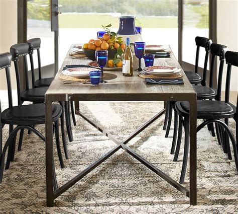 rectangular square reclaimed wood dining table clint reclaimed wood dining table pottery barn