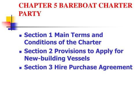 bareboat hire purchase ppt chapter 5 bareboat charter party powerpoint