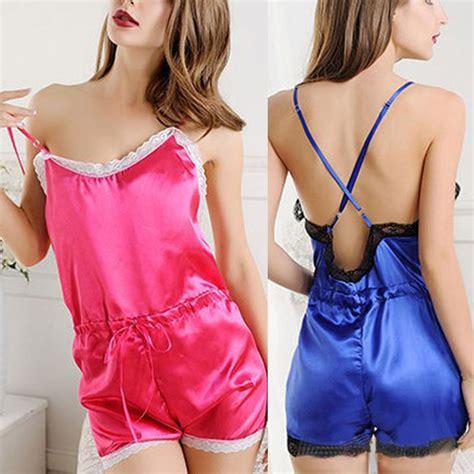 Kezia Nightdress Laces Gstring new satin lace robe nightdress sleepwear pajamas ebay