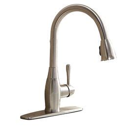 kitchen faucet water pressure aquasource brushed nickel 1 handle pull kitchen