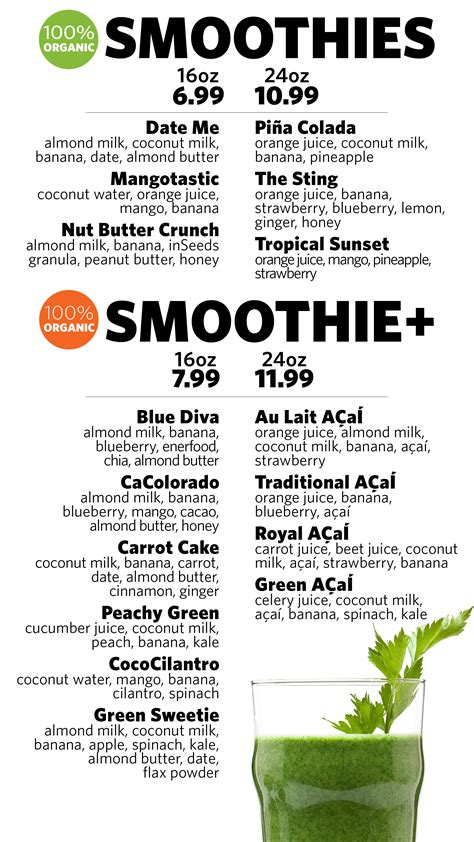 Detox Bar Menu by Juice Alfalfa S Market