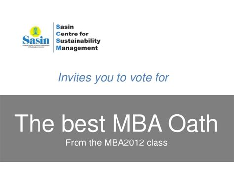 Best Places To Look For Mba by Sasin Mba Oath1