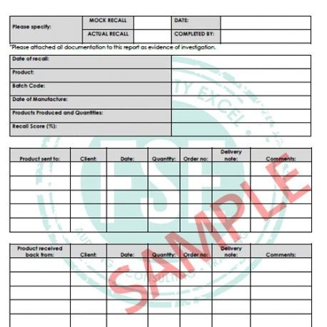 Mock Recall Report Food Safety Excel Mock Recall Template