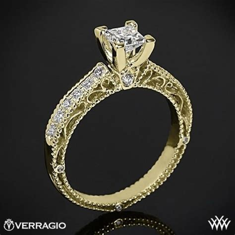 18k yellow gold verragio scrolled pave engagement