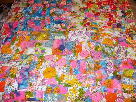 vintage neon fabric lined quilt top flower power 60 s tie