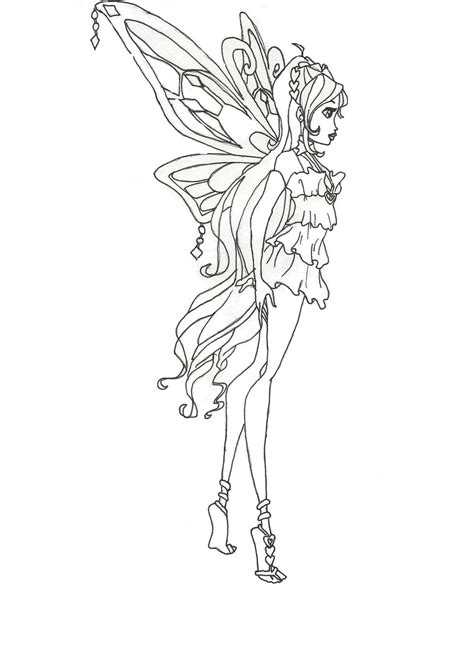 Winx Club Enchantix Bloom Coloring Page Side View By Winx Club Coloring Pages Bloom