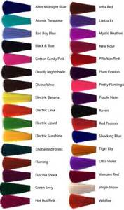 manic panic hair color chart manic panic hair dye color chart im gonna do streaks