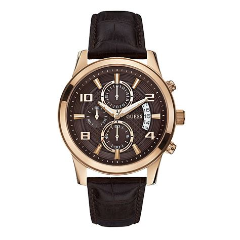 Guess Romawi Date Leather Brown guess s gold plated brown leather h