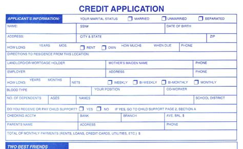 Vehicle Credit Application Template Best Photos Of Credit Application Form Pdf Business Credit Application Form Template Customer