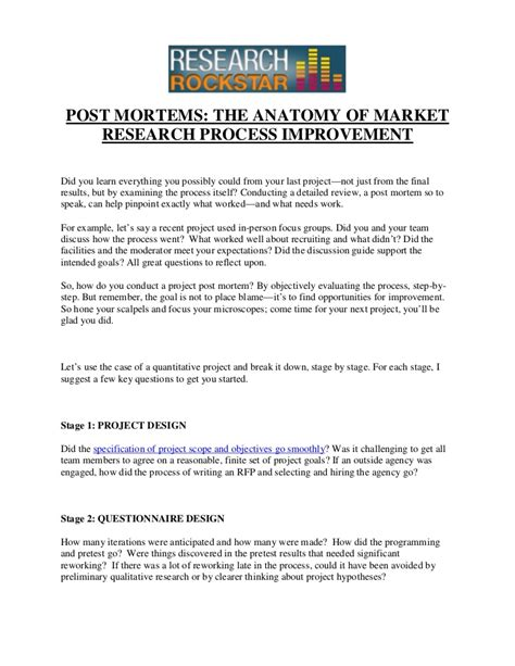 post mortem review template post mortems the anatomy of market research process