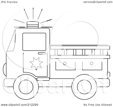 Firetruck Outline by Truck Silhouette Clip 47
