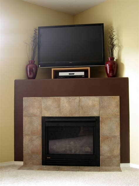Corner Fireplace With Tv by Tv Above Corner Fireplace Big Slate Tile Faced House