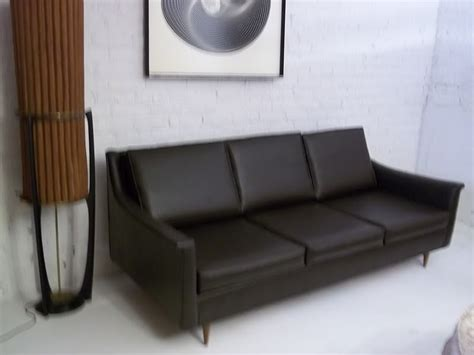 naugahyde couch mid century dark brown naugahyde sofa couch excellent
