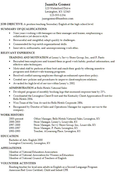 Sample Resume Objectives For Personal Trainer by Resume Secondary English Teacher At High Level
