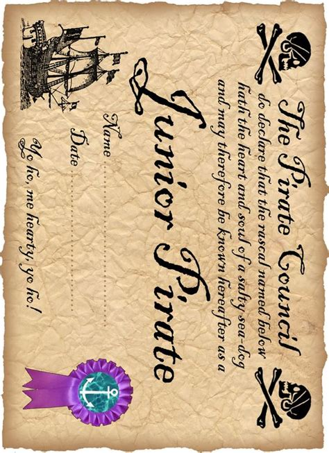 pirate certificate template printable certificates and magical creatures on
