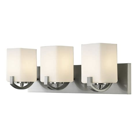 Bathroom Vanity Light Bulbs Shop Canarm Palmer 3 Light 24 In Brushed Nickel Square Vanity Light At Lowes