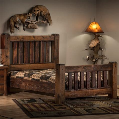timber bed frame rustic reclaimed barn wood bed