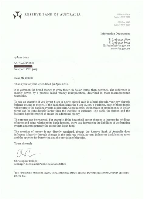 Bank Letter Of Demand Rba Fractional Reserve Banking Open Letter The Taxpayers