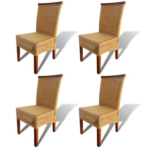 Dining Chairs 4 Vidaxl Co Uk Vidaxl Dining Chairs 4 Pcs Rattan Brown