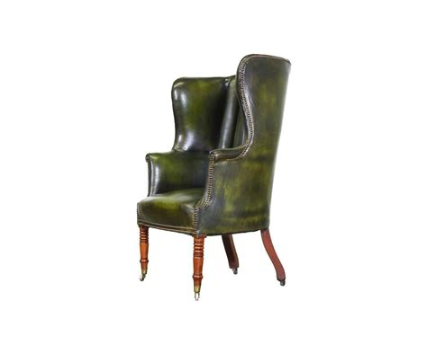 Vintage High Back Chair by Vintage Green Leather High Back Wing Chair At 1stdibs