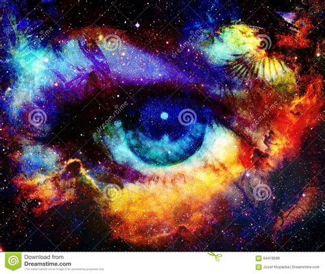 goddess of color goddess eye and color space background with stock