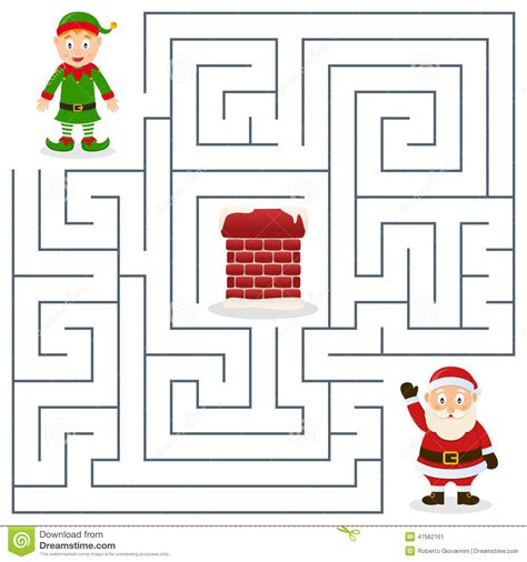 elves in a coloring and puzzle solving adventure for all ages books santa claus maze for stock vector