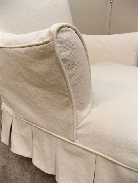 denim chair slipcovers pleated slipcover in natural denim for vintage chair