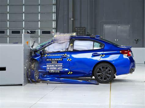 crashed subaru wrx 2015 subaru wrx driver side small overlap iihs crash test