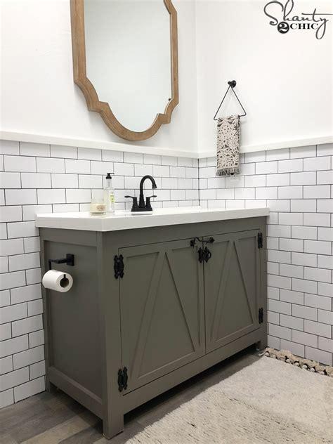 Diy Sink Vanity by Diy Modern Farmhouse Bathroom Vanity Shanty 2 Chic