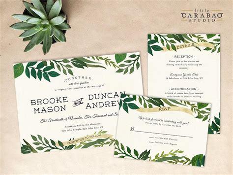digital wedding invitations templates digital wedding invitation set printable botanical wedding