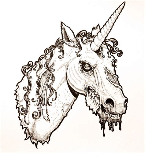zombie unicorn coloring page zombie unicorn head by harperugby on deviantart