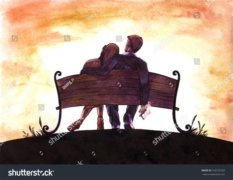 bench couple watch watercolor ink painting love couple on stock illustration