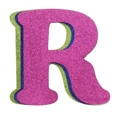 3 letter colors wood letter r set of 3 assorted glitter colors 9 quot