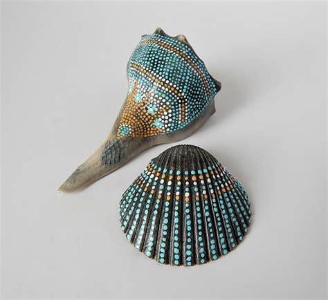 Sea Shell Vase Painted Seashells Natural Beach Cottage Nautical Home Decor