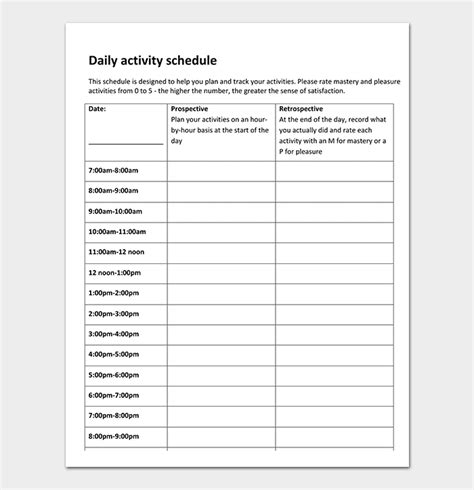 daily activity schedule template daily schedule template 22 planners for excel word