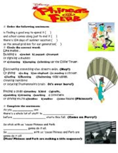 theme songs english english worksheets phineas and ferb theme song re uploaded