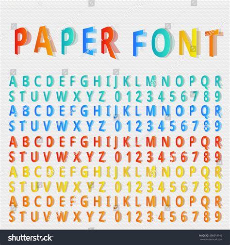 Folded Paper Font - vector folded font vector paper font stock vector