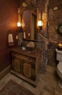 Design gaeste wc rustikal stein wand fliesen schrank toilette