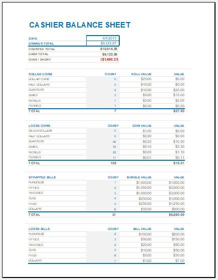 Drawer Reconciliation by Drawer Balance Sheet Pacq Co