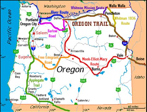 a map of the oregon trail oregon trails in oregon