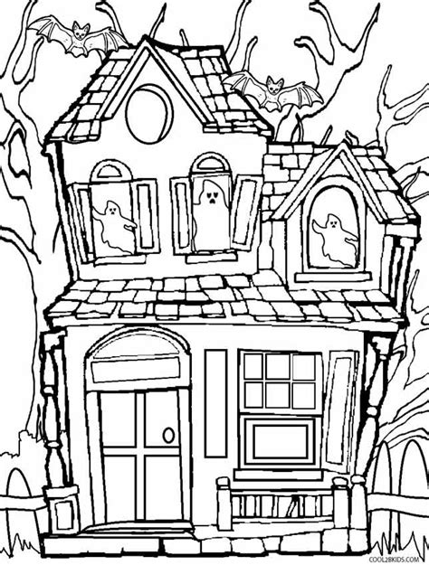 halloween coloring pages of a haunted house printable haunted house coloring pages for kids cool2bkids